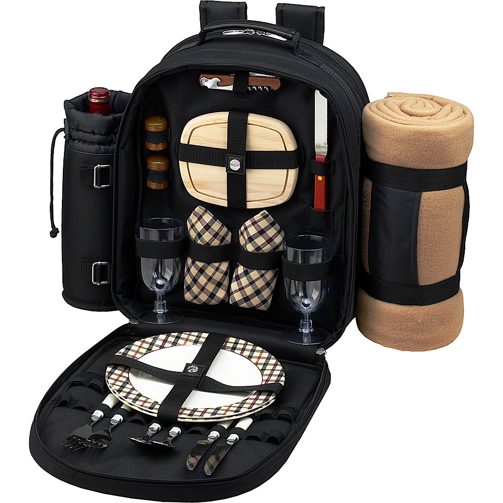 Picnic at Ascot Deluxe Equipped 2 Person Picnic Backpack with Cooler,  Insulated Wine Holder & Blanket Black w/London Plaid - Picnic at Ascot Outdoor Coolers