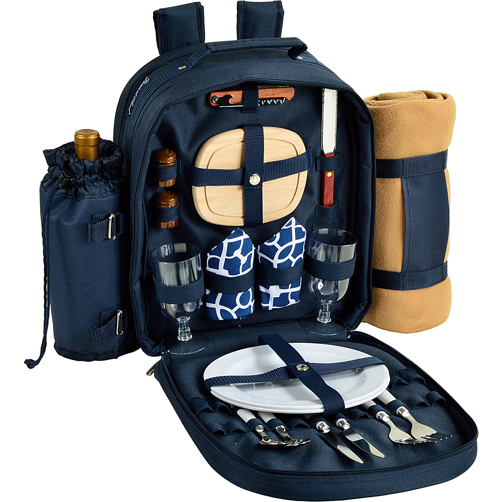 Picnic at Ascot Deluxe Equipped 2 Person Picnic Backpack with Cooler, Insulated Wine Holder & Blanket Navy/White with Trellis Blue - Picnic at Ascot Outdoor Coolers - Outdoor, Outdoor Coolers