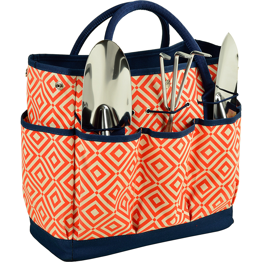 Picnic at Ascot Gardening Tote with 3 Tools Orange/Navy - Picnic at Ascot All-Purpose Totes