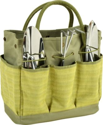 Picnic At Ascot Gardening Tote With 3 Tools Olive Tweed   Picnic At Ascot  All