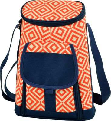 Picnic at Ascot Stylish 2 Bottle Insulated Wine Tote Bag with Cheese Board, Knife and Corkscrew Orange/Navy - Picnic at Ascot Outdoor Coolers