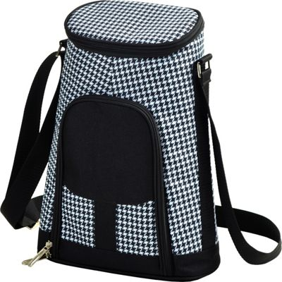 Picnic at Ascot Stylish 2 Bottle Insulated Wine Tote Bag with Cheese Board, Knife and Corkscrew Houndstooth - Picnic at Ascot Outdoor Coolers
