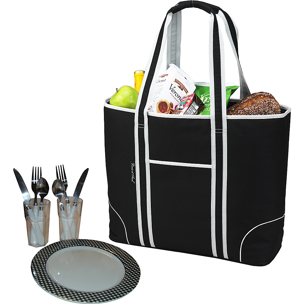 Picnic at Ascot Extra Large Insulated Picnic Bag Equipped for 2 Black - Picnic at Ascot Outdoor Accessories - Outdoor, Outdoor Accessories