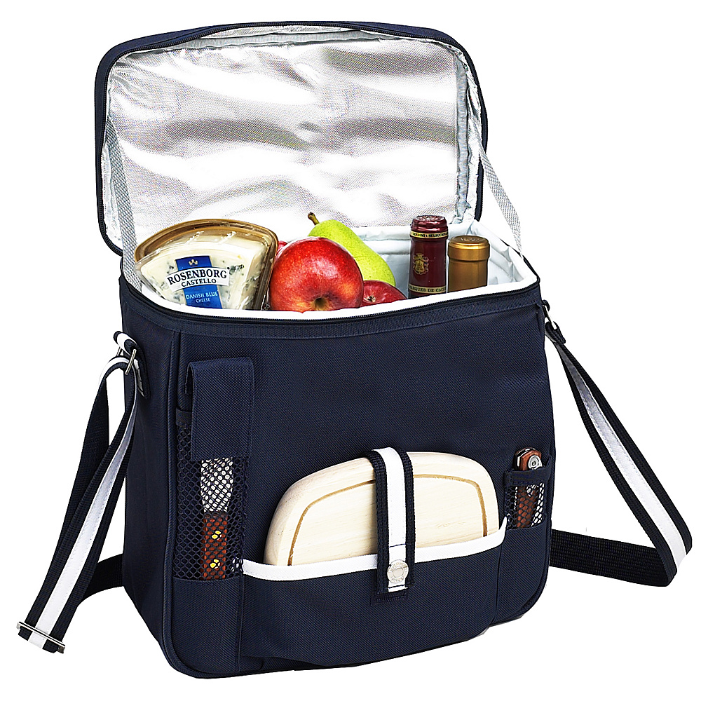 Picnic at Ascot Wine and Cheese Picnic Basket/Cooler with hardwood cutting Board, Cheese Knife and Corkscrew Navy/White - Picnic at Ascot Outdoor Coolers - Outdoor, Outdoor Coolers