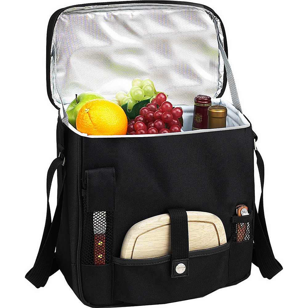 Picnic at Ascot Wine and Cheese Picnic Basket/Cooler with hardwood cutting Board, Cheese Knife and Corkscrew Black - Picnic at Ascot Outdoor Coolers - Outdoor, Outdoor Coolers