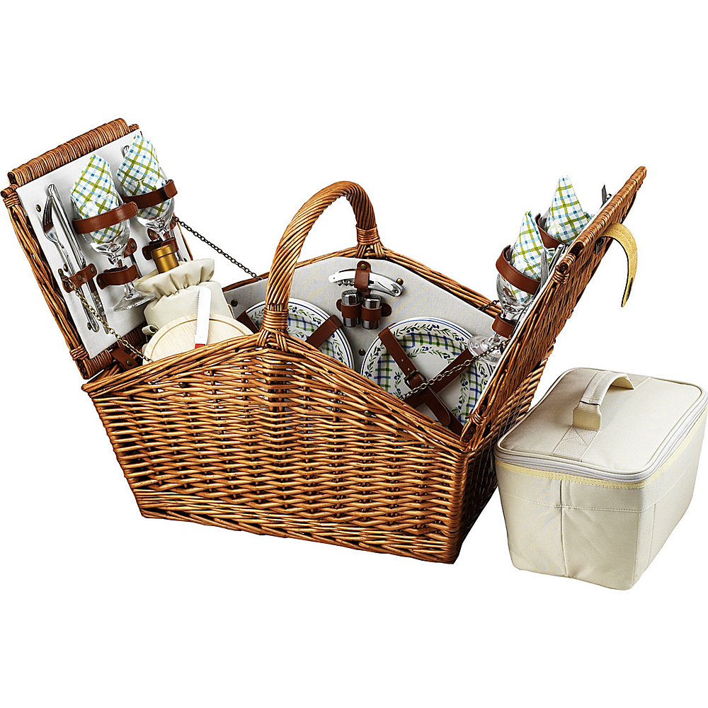 Picnic at Ascot Huntsman English-Style Willow Picnic Basket with Service for 4 Wicker w/Gazebo - Picnic at Ascot Outdoor Accessories - Outdoor, Outdoor Accessories