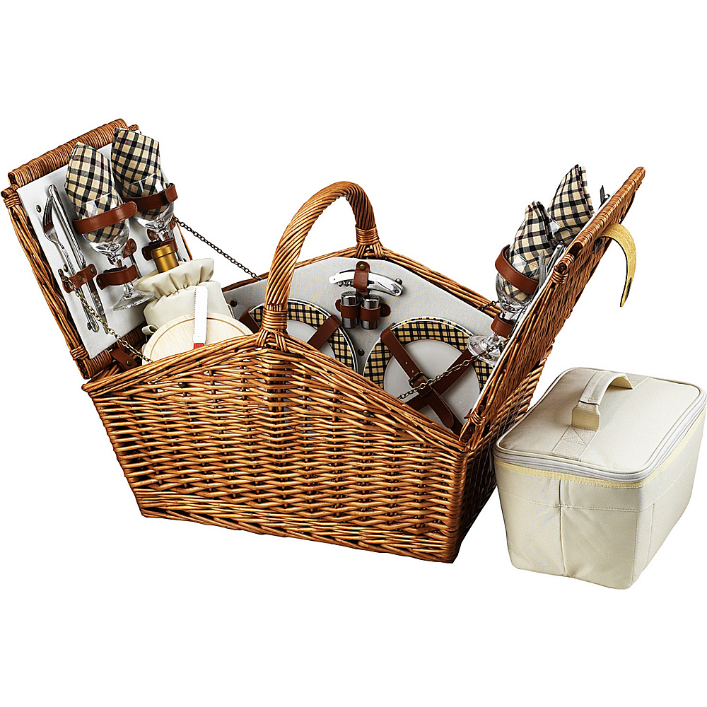 Picnic at Ascot Huntsman English-Style Willow Picnic Basket with Service for 4 Wicker w/London - Picnic at Ascot Outdoor Accessories - Outdoor, Outdoor Accessories