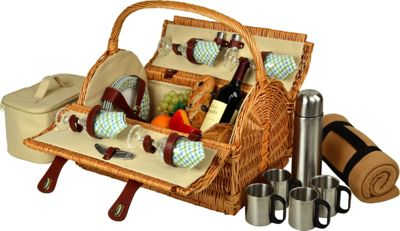 Picnic at Ascot Yorkshire Willow Picnic Basket with Service for 4,  Coffee Set and Blanket Wicker w/Gazebo - Picnic at Ascot Outdoor Accessories