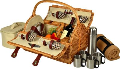 Picnic at Ascot Yorkshire Willow Picnic Basket with Service for 4,  Coffee Set and Blanket Wicker w/London - Picnic at Ascot Outdoor Accessories