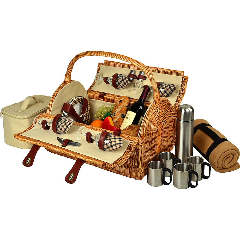 Picnic at Ascot Yorkshire Willow Picnic Basket with Service for 4,  Coffee Set and Blanket Wicker w/London - Picnic at Ascot Outdoor Accessories - Outdoor, Outdoor Accessories