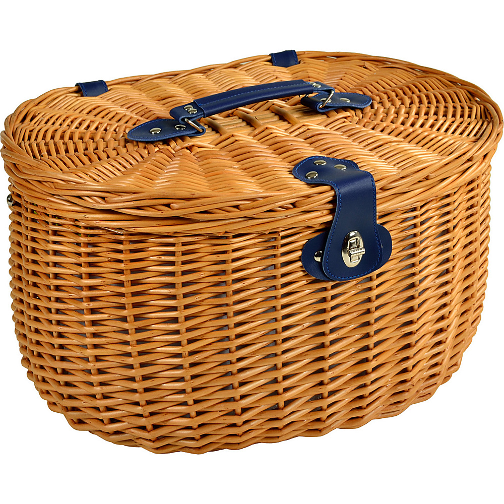 Picnic at Ascot Ramble Lined Picnic Basket with Service for 2 -Trellis Green Natural, Trellis  Green - Picnic at Ascot Outdoor Accessories - Outdoor, Outdoor Accessories