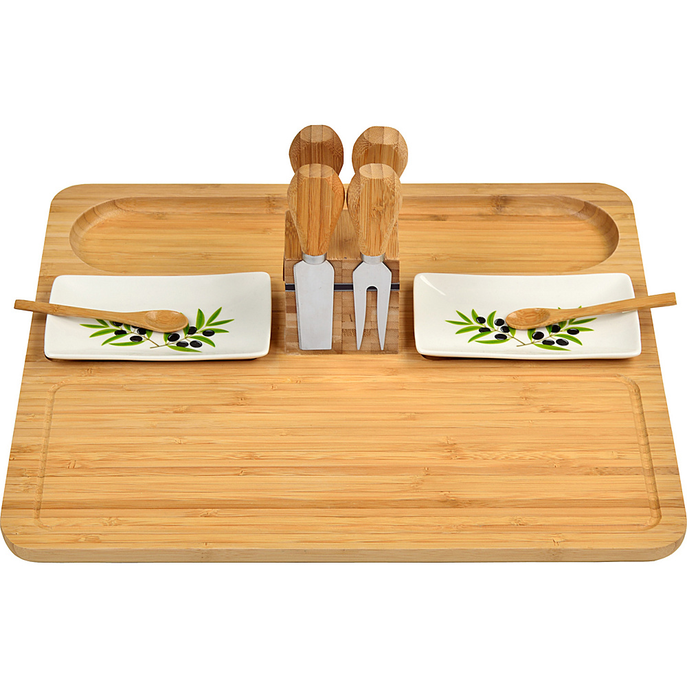 Picnic at Ascot Sherborne Bamboo Cheese Board Set with 4 Tools Bamboo - Picnic at Ascot Outdoor Accessories - Outdoor, Outdoor Accessories