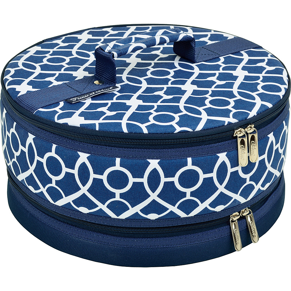Picnic at Ascot Pie and Cake Carrier 12 Diameter Trellis Blue - Picnic at Ascot Outdoor Accessories - Outdoor, Outdoor Accessories