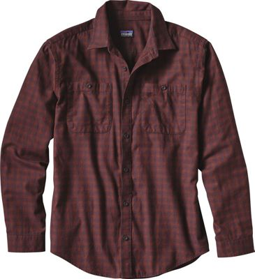 Patagonia Mens Long Sleeve Pima Cotton Shirt XS - Blocked Out: Cinder Red - Patagonia Men's Apparel
