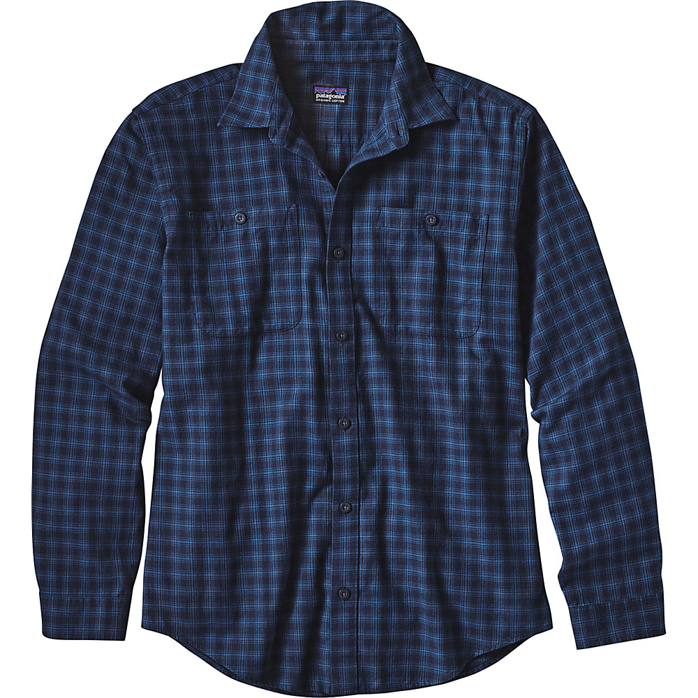 Patagonia Mens Long Sleeve Pima Cotton Shirt XS - Blocked Out: Glass Blue - Patagonia Mens Apparel - Apparel & Footwear, Men's Apparel