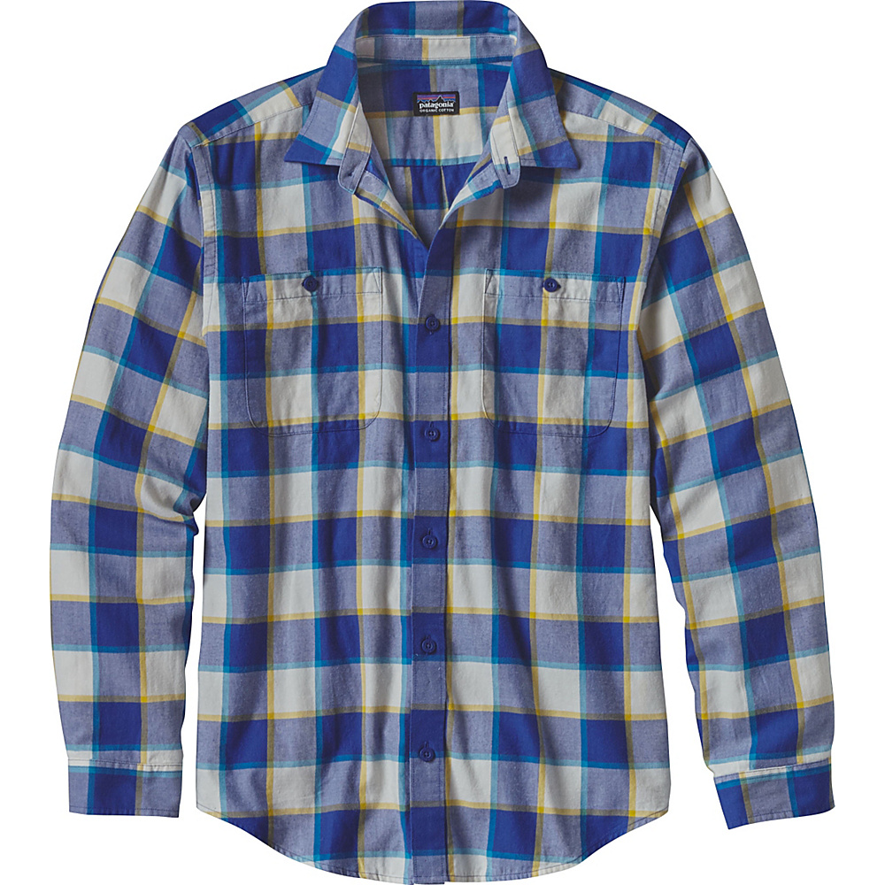 Patagonia Mens Long Sleeve Pima Cotton Shirt XS - Crossed Branches: Harvest Moon Blue - Patagonia Mens Apparel - Apparel & Footwear, Men's Apparel