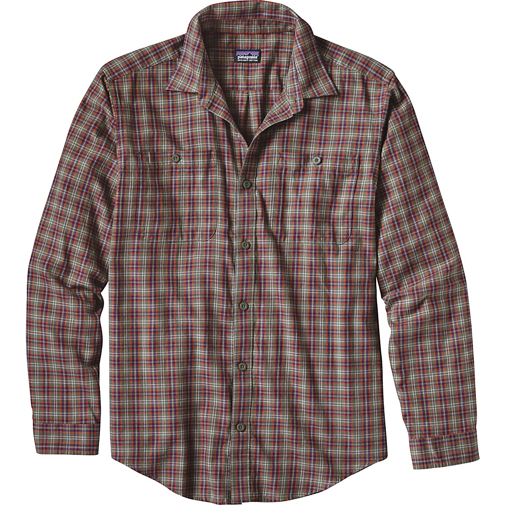 Patagonia Mens Long Sleeve Pima Cotton Shirt S - Leaf Lines: Industrial Green - Patagonia Mens Apparel - Apparel & Footwear, Men's Apparel
