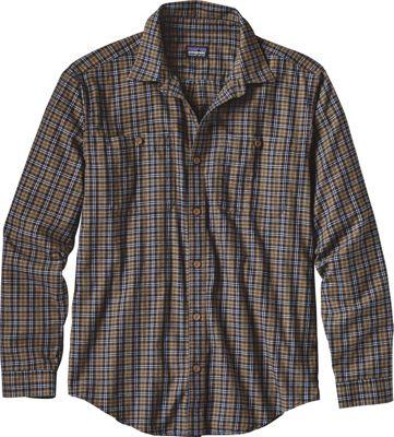 Patagonia Mens Long Sleeve Pima Cotton Shirt XS - Leaf Lines: Navy Blue - Patagonia Men's Apparel