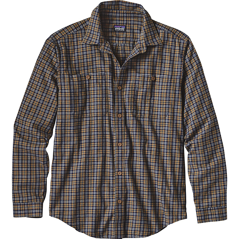 Patagonia Mens Long Sleeve Pima Cotton Shirt M - Leaf Lines: Navy Blue - Patagonia Mens Apparel - Apparel & Footwear, Men's Apparel