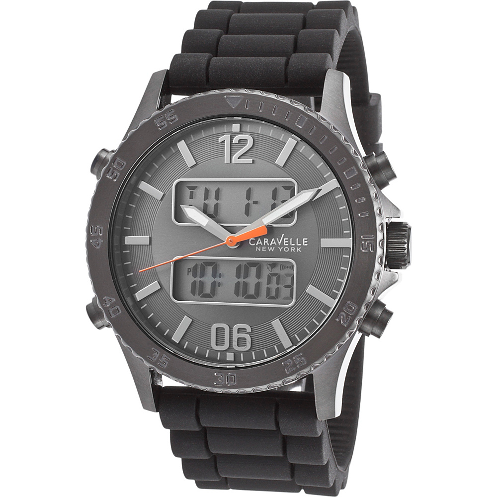 Caravelle New York Watches Mens Digital Chronograph Silicone Band Watch Black - Caravelle New York Watches Watches