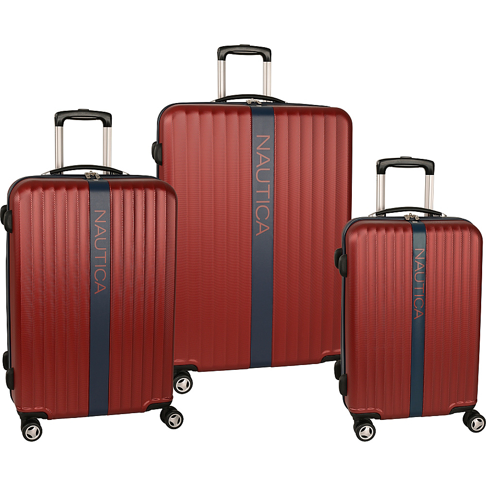 Nautica Surfers Paradise 3 Piece Luggage Set Burgandy/Navy - Nautica Luggage Sets