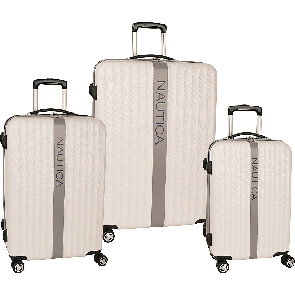 Nautica Surfers Paradise 3 Piece Luggage Set White/Grey - Nautica Luggage Sets