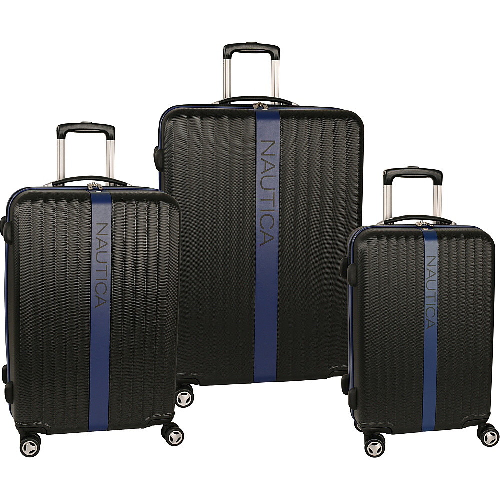 Nautica Surfers Paradise 3 Piece Luggage Set Black/Blue - Nautica Luggage Sets