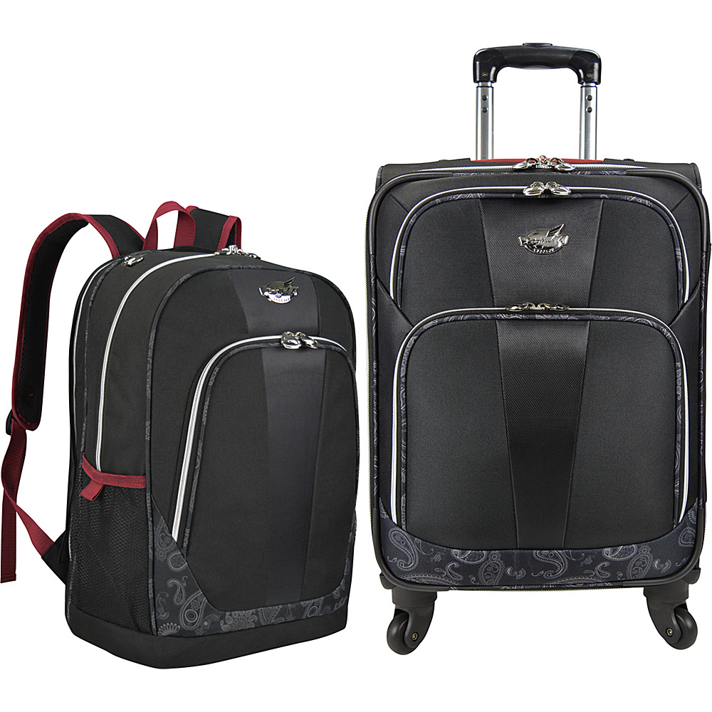Bret Michaels Luggage Classic Road 2 Piece Carry-On Luggage and Laptop Backpack Set Black - Bret Michaels Luggage Luggage Sets