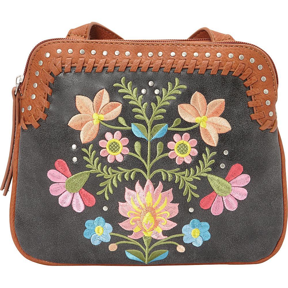 Bandana Maya 2 Compartment Crossbody Charcoal Terracotta Bandana Manmade Handbags