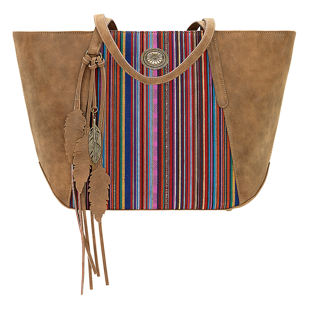 Bandana Serape Zip Top Tote Medium Brown Mexican Pink Bandana Manmade Handbags
