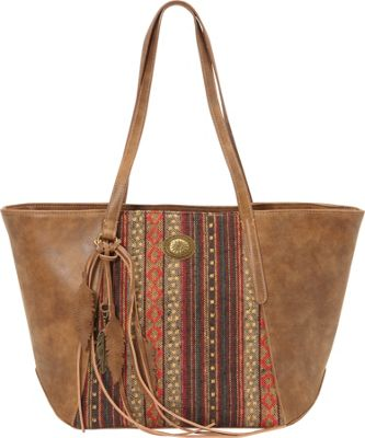 Image of Bandana Serape Zip Top Tote Medium Brown / Autumn Leaves - Bandana Manmade Handbags