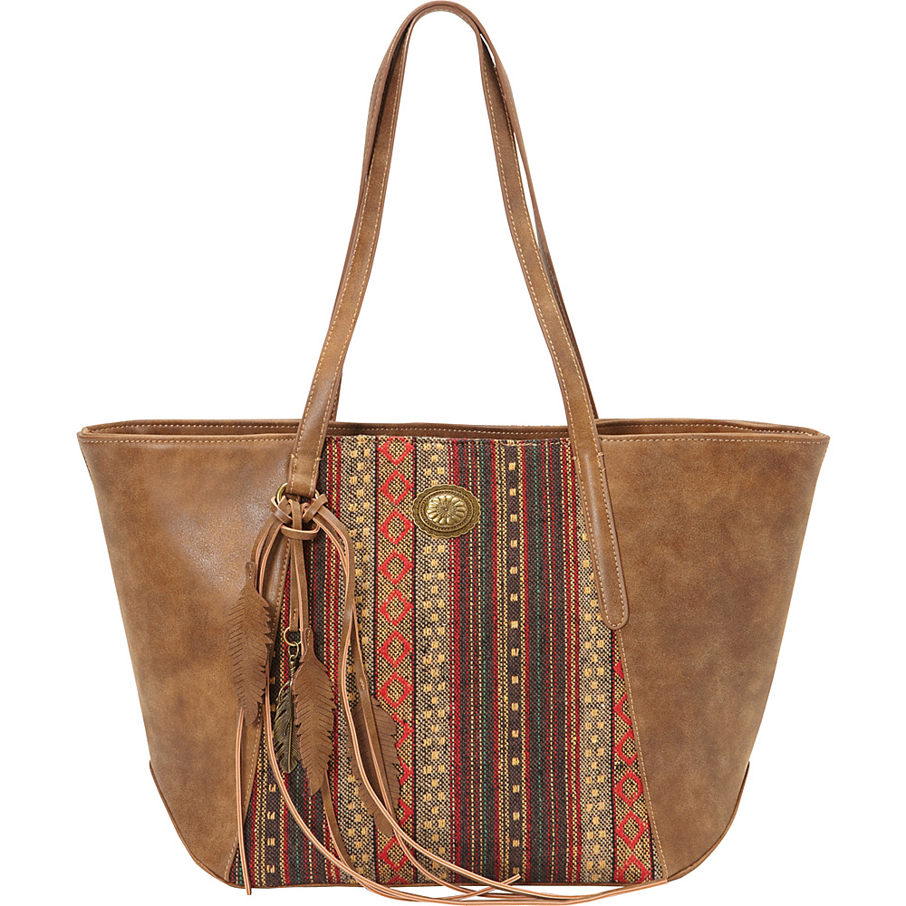 Bandana Serape Zip Top Tote Medium Brown Autumn Leaves Bandana Manmade Handbags