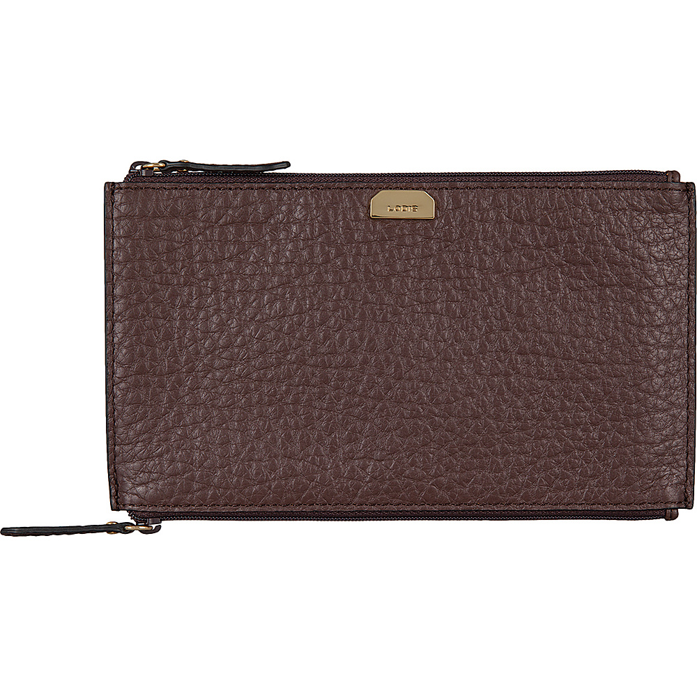 Lodis Borrego Under Lock and Key Lani Double Zip Pouch Dark Brown - Lodis Womens Wallets - Women's SLG, Women's Wallets