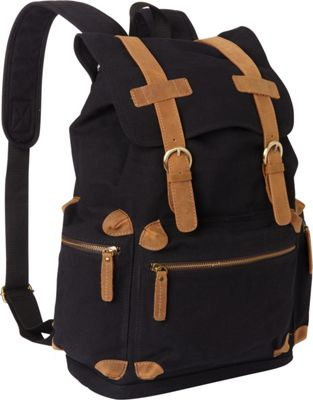 Vagabond Traveler Classic Large Canvas Backpack Black - Vagabond Traveler Everyday Backpacks