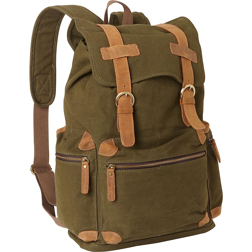 Vagabond Traveler Classic Large Canvas Backpack Green - Vagabond Traveler Everyday Backpacks - Backpacks, Everyday Backpacks
