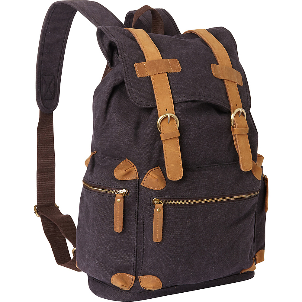 Vagabond Traveler Classic Large Canvas Backpack Grey - Vagabond Traveler Everyday Backpacks - Backpacks, Everyday Backpacks