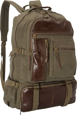 Fox Outdoor Retro Cantabrian Excursion Rucksack with Leather Trim Olive Drab - Fox Outdoor Everyday Backpacks