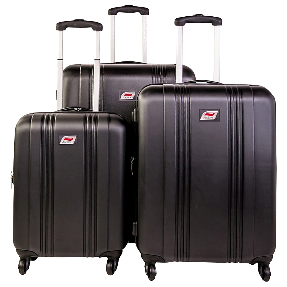 Andare Monte Carlo 8 Wheel Spinner Upright 3 Piece Luggage Set Black Andare Luggage Sets