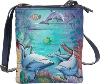 Anuschka RFID Blocking Triple Compartment Travel Organizer Dolphin World - Anuschka Leather Handbags