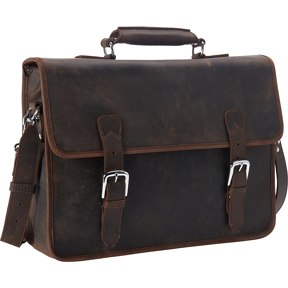 Vagabond Traveler Large Full Grain Cowhide Leather Laptop Bag Dark Brown - Vagabond Traveler Non-Wheeled Business Cases - Work Bags & Briefcases, Non-Wheeled Business Cases