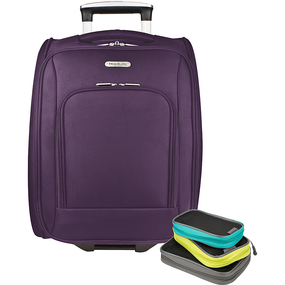 Travelon 18 Wheeled Underseat Bag with Set of 3 Lightweight Packing Squares-Exclusive Purple - Travelon Softside Carry-On - Luggage, Softside Carry-On