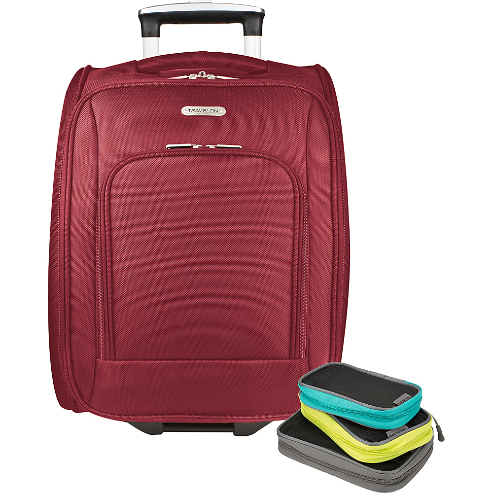 Travelon 18 Wheeled Underseat Bag with Set of 3 Lightweight Packing Squares-Exclusive Red - Travelon Softside Carry-On - Luggage, Softside Carry-On