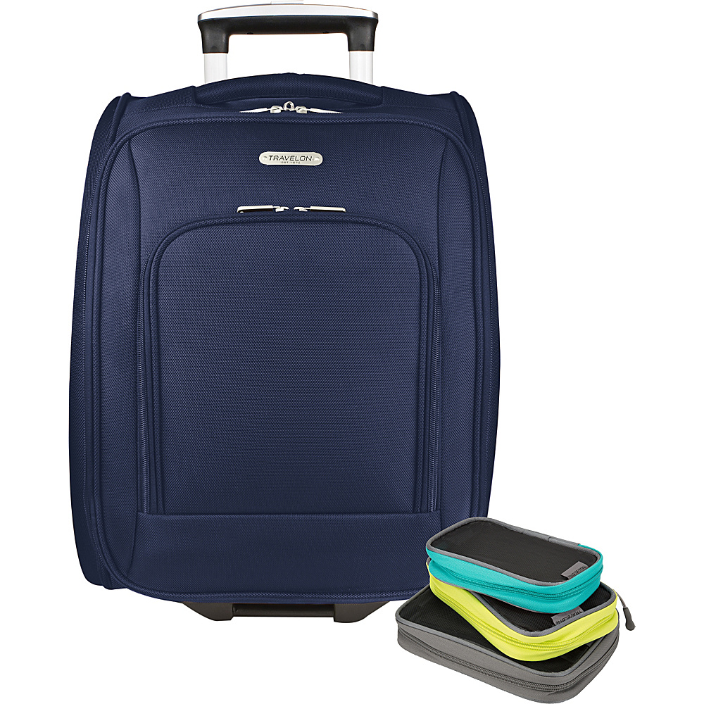 Travelon 18 Wheeled Underseat Bag with Set of 3 Lightweight Packing Squares-Exclusive Blue - Travelon Softside Carry-On - Luggage, Softside Carry-On