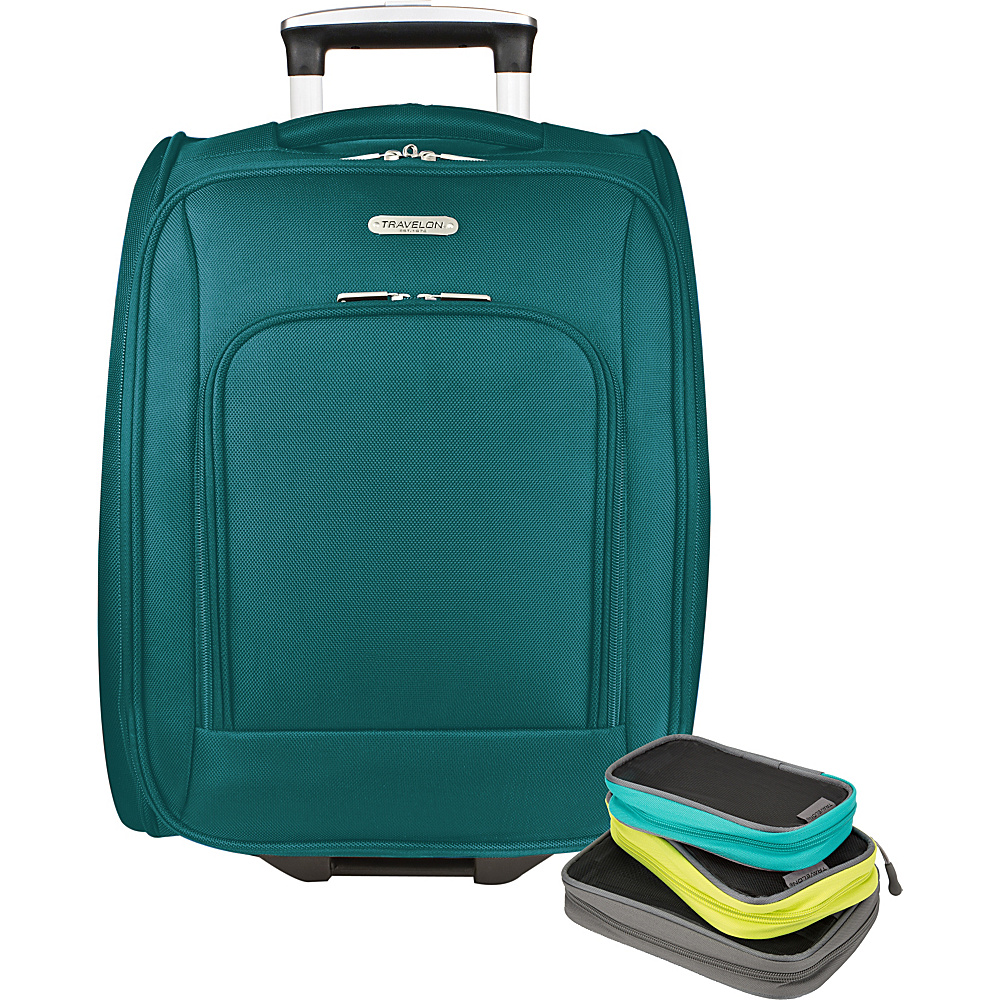 Travelon 18 Wheeled Underseat Bag with Set of 3 Lightweight Packing Squares-Exclusive Teal - Travelon Softside Carry-On - Luggage, Softside Carry-On