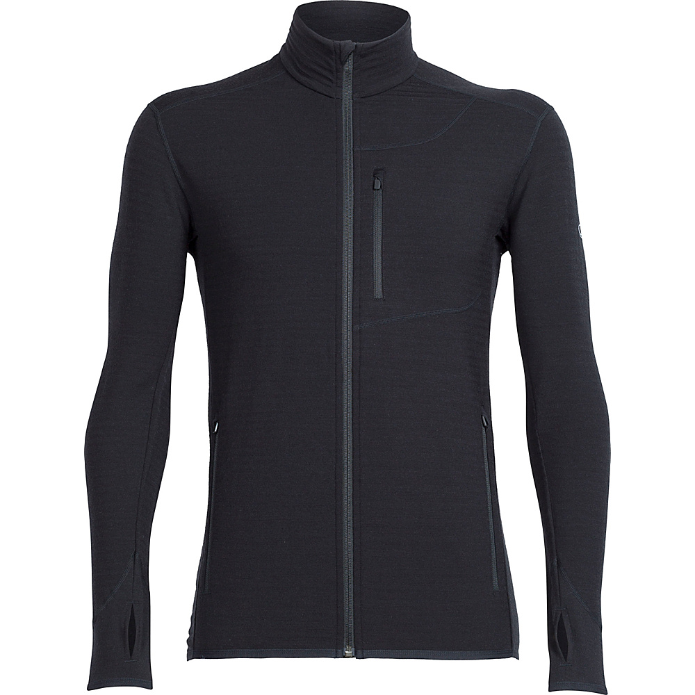 Icebreaker Mens Descender Long Sleeve Zip Jacket L - Black - Icebreaker Mens Apparel - Apparel & Footwear, Men's Apparel