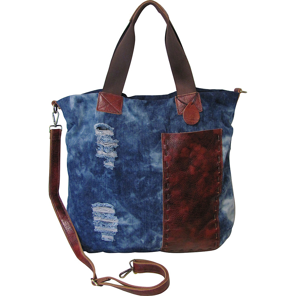 AmeriLeather Colton Ripped Denim/Leather Trim Tote Denim/Leather - AmeriLeather Fabric Handbags - Handbags, Fabric Handbags