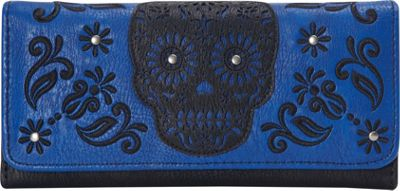 Loungefly Laser Cut Skull Blue Wallet Blue/Black - Loungefly Women's Wallets
