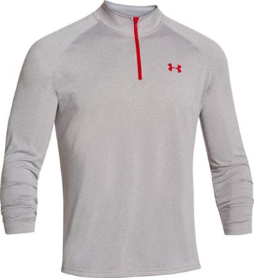 Under Armour UA Tech 1/4 Zip M - True Gray Heather/Red/Red - Under Armour Men's Apparel 10493059