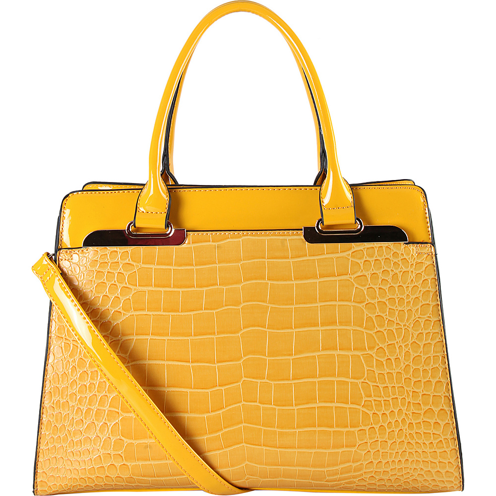 Diophy Faux leather Double handle Handbag Yellow Diophy Manmade Handbags