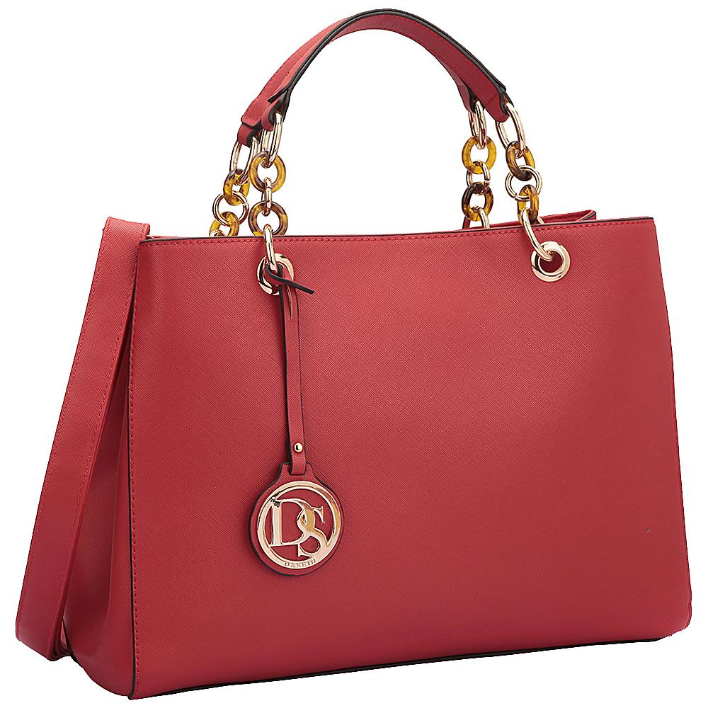 Dasein Saffiano Faux Leather Chain Strap Satchel Red - Dasein Manmade Handbags - Handbags, Manmade Handbags